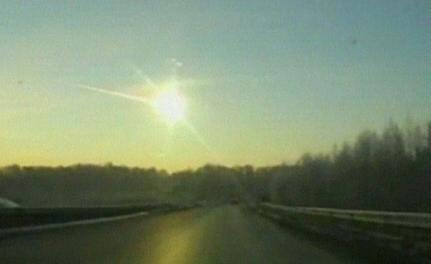 מטאור בשמי רוסיה (צילום: חדשות 2)