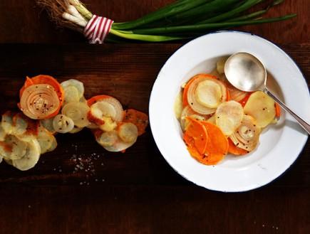 גראטן תפוחי אדמה, בצל ובטטה (צילום: אפיק גבאי, אוכל טוב)