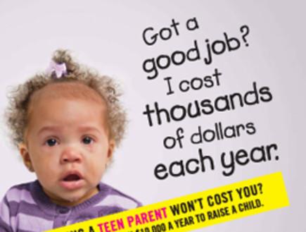 קמפיין נגד הריון לנערות - ילד עולה הרבה (צילום: מתוך אתר babycenter.com)