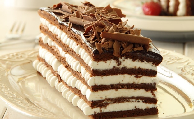 עוגת שכבות שוקולד וקצפת לפסח (צילום: חן שוקרון, מתוקים שלי)