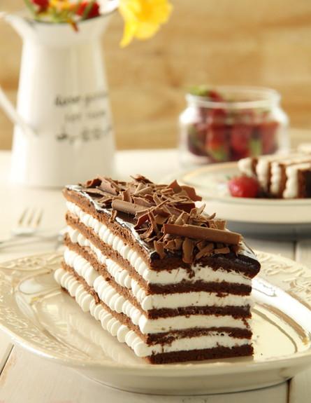 עוגת שכבות שוקולד וקצפת לפסח - אורך (צילום: חן שוקרון, מתוקים שלי)