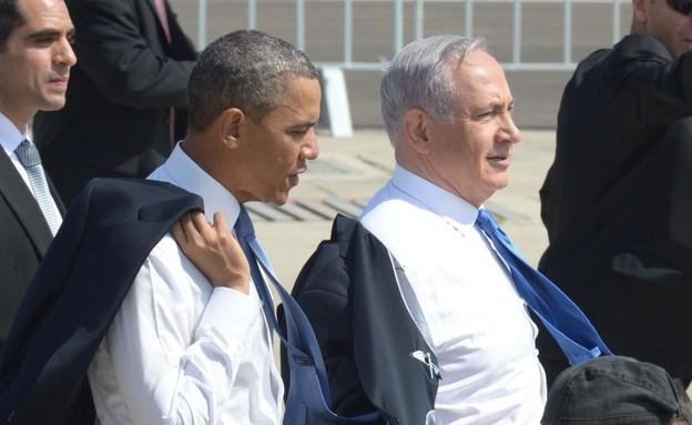 """ברק אובמה ובנימין נתניהו במהלך ביקור בישראל (צילום: חיים צח לע""""מ)"""