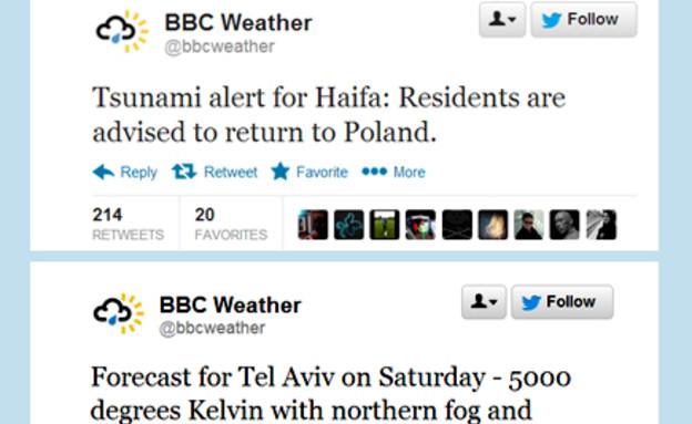 חשבון הטוויטר של ערוץ מזג האוויר של ה-BBC (צילום: טוויטר)