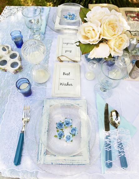שולחן פסח, מים פרח בצלחת (צילום: יואב ז'אק)
