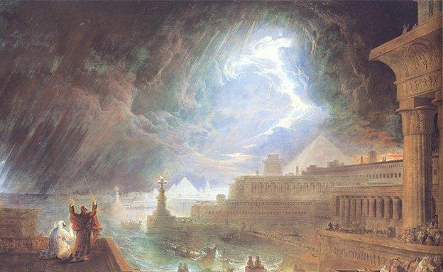 עשר המכות - ציור של מכת ברד מהמאה ה-19 (צילום: ויקיפדיה)