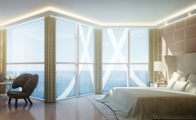 פנהאוז יקר, חדר שינה (צילום: tour odeon)