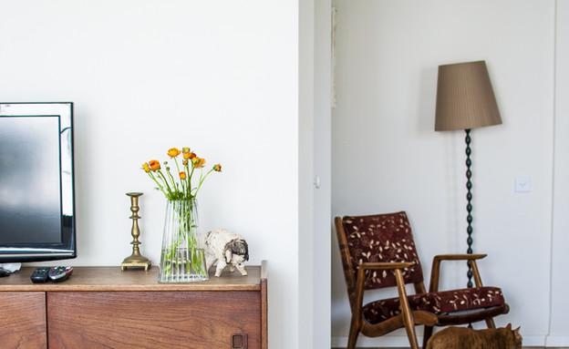 דירה תל אביב, שידת טלוויזיה שולחן (צילום: סיון אסקיו)