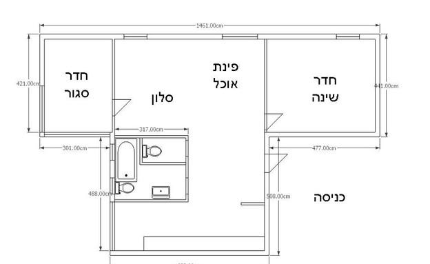 דירה תל אביב, תכנית לפני (צילום: סיון אסקיו)