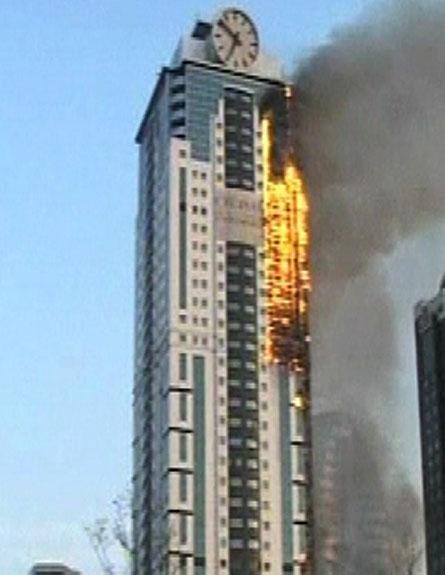 שריפה בניין צ'צניה (צילום: חדשות 2)