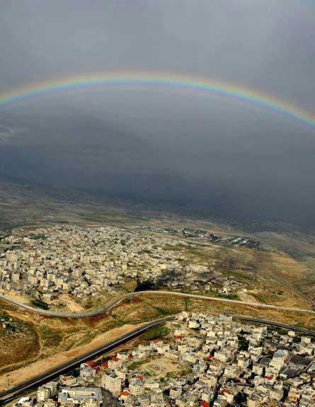 קשת במזרח ירושלים, היום (צילום: אמנון זיו משטרת ישראל)