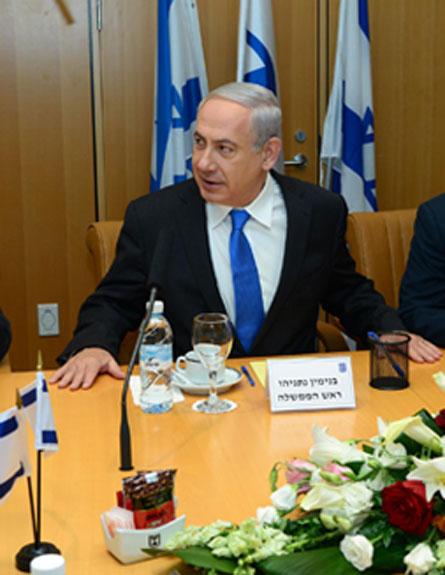 """נתניהו בפגישה, היום (צילום: לע""""מ)"""