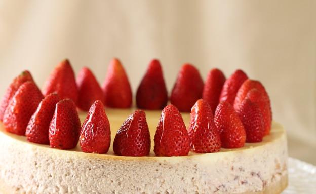 עוגת גבינה עם תותים צלויים (צילום: חן שוקרון, מתוקים שלי)