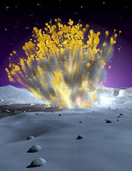 הדמיית פגיעת מטאוריט מ-2005 (צילום: NASA/MSFC)