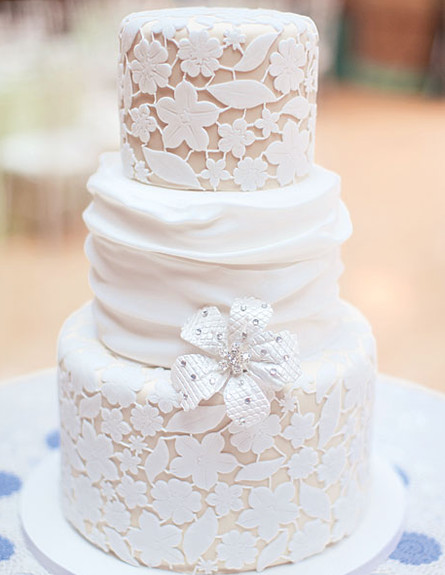עוגת חתונה דמוית תחרה (צילום: צילום מסך מהאתר somethingborrowedandblue.com)