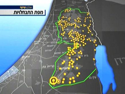 מפת גושי ההתנחלויות מעבר לקו הירוק (צילום: חדשות 2)