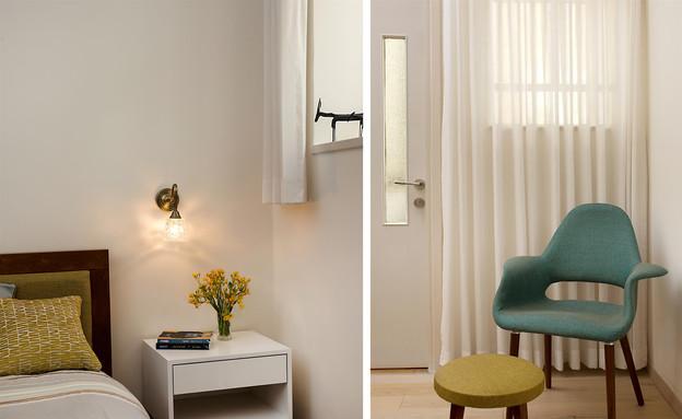 דירת באוהאוס, חדר שינה קולאז (צילום: אביב קורט)