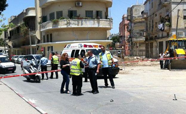 זירת התאונה ביפו, היום (צילום: עזרי עמרם, חדשות 2)