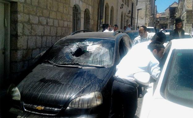 הרכב שהושחת, הבוקר (צילום: חדשות 24)