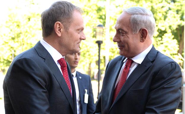 """בנימין נתניהו וראש ממשלת פולין, היום (צילום: קובי גדעון / לע""""מ)"""
