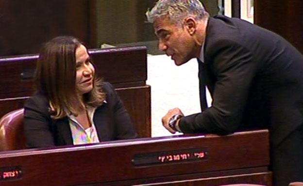 שלי יחימוביץ, יאיר לפיד (צילום: חדשות 2)
