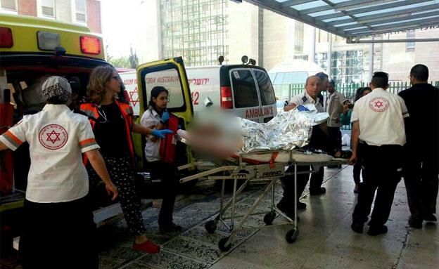 הנדקר מי-ם מפונה לבית החולים, שלשום (צילום: חדשות 2)