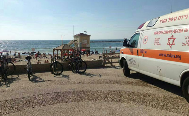 """חוף פרישמן, היום (צילום: דוברות מד""""א)"""