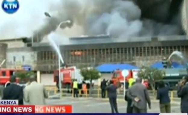 שריפה משתוללת בשדה התעופה בקניה (צילום: CNN)