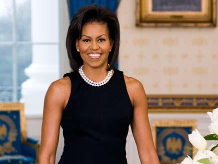 מישל אובמה בשמלה שחורה (צילום: חדשות 2)