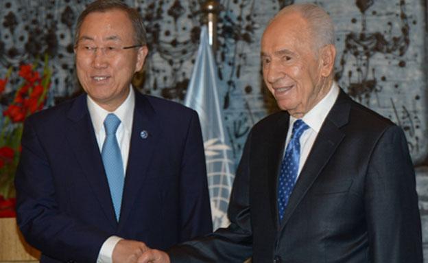 """הנשיא פרס ומזכ""""ל האו""""ם, היום (צילום: לע""""מ)"""