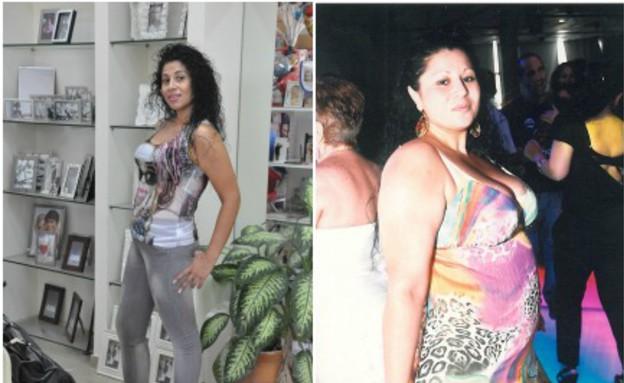 לינה כץ לפני ואחרי (צילום: תומר ושחר צלמים, צילום ביתי)
