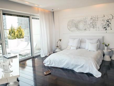 הפקה לבנה, חדר שינה  (צילום: שרון ברקת)