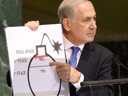 """נתניהו ואיור הפצצה באו""""ם (צילום: AP)"""