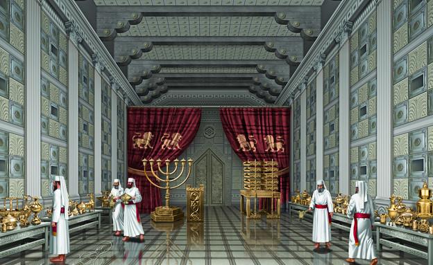 בית המקדש - בפנים (צילום: ציור וקסברגר)