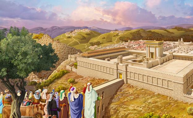 בית המקדש - צופים מבחוץ (צילום: ציור וקסברגר)