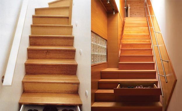 אחסון, מדרגות מגירות גובה (צילום: athousandgreatideas.wordpress.com)