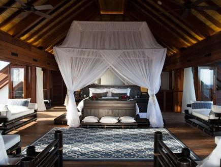 אחד החדרים, אתר הנופש של ברנסון (צילום: cnn.com)