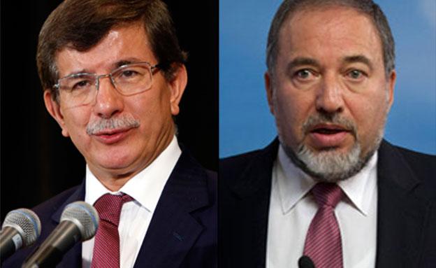 ליברמן ושר החוץ הטורקי (צילום: AP)