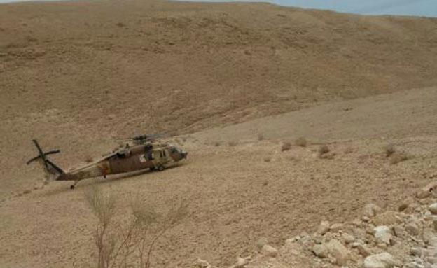 המסוק בזירת החילוץ, היום (צילום: חדשות 2)