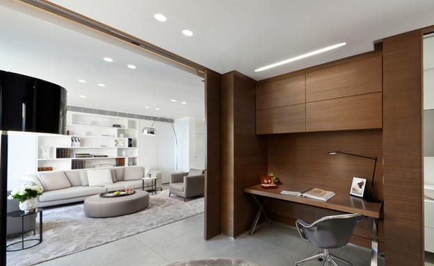 עיצוב בהזזה, חדר עבודה ואירוח (צילום: שגב צילום)