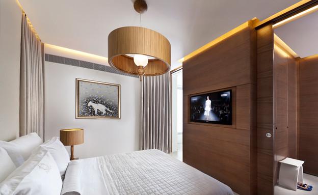 עיצוב בהזזה, חדר שינה גוונים טבעיים (צילום: שגב צילום)