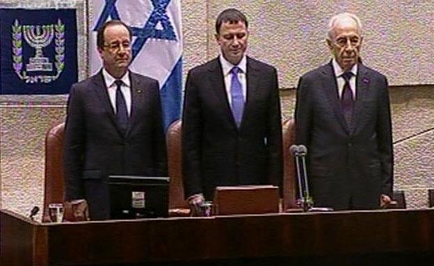 פרס, אדלשטיין והולנד בכנסת, הערב (צילום: חדשות 2)