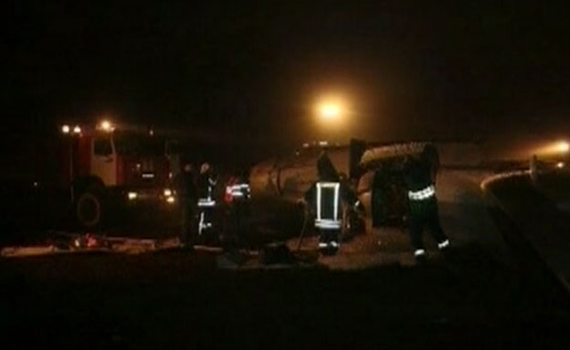 המטוס לאחר ההתרסקות, אמש (צילום: רוסיה 24)