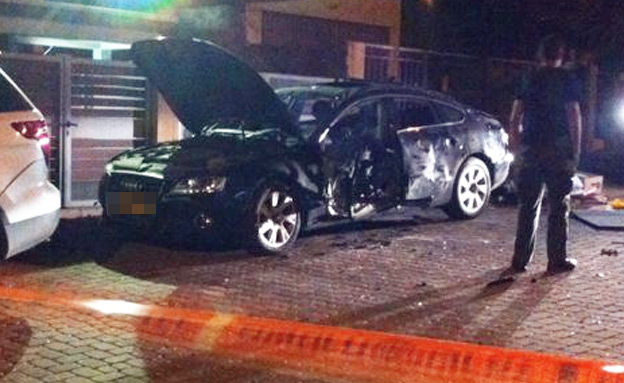 פיצוץ רכב רישפון (צילום: חדשות 2)