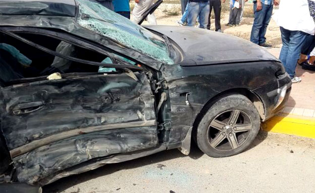 זירת התאונה, היום (צילום: דוברות המשטרה - נגב)