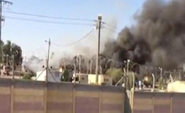 תיעוד: השריפה בבסיס צאלים (צילום: חדשות 2)