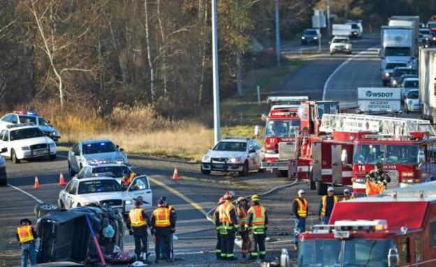 התאונה (צילום: ZACHARY KAUFMAN/THE COLUMBIAN)