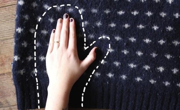 טריקים לחורף - כפפות מסוודר (צילום: buzzfeed, צילום מסך)