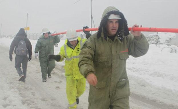 עובדי חברת החשמל בסופה (צילום: דוברות חברת החשמל)
