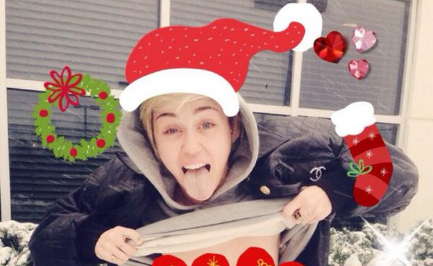 מיילי סיירוס חוגגת את חג המולד  (צילום: מתוך הטוויטר של מיילי סיירוס)