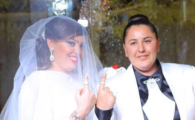 """אושר ובתאל חתונה לסבית  (צילום: צילומי RECORD בע""""מ)"""